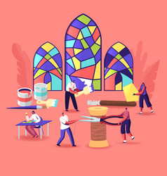 Stained glass producing concept tiny characters vector