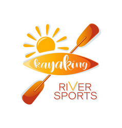 Sun kayaking river sports lettering vector