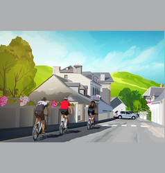 Three cyclists vector