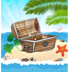 Treasure Chest on sandy island vector image