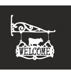 Vintage sign with cow for outdoor advertisment vector image