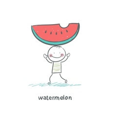 Watermelon and people vector