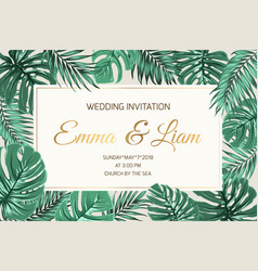 Wedding invitation exotic green leaves golden text vector