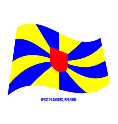 West flanders flag waving on white background vector