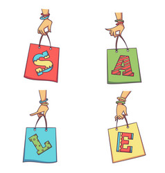 woman hands holding shopping bags with sale vector image