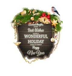Wooden Board With Christmas Attributes EPS 10 vector image