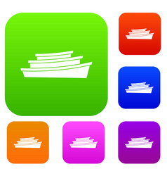 wooden boat set collection vector image