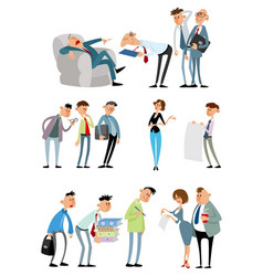 working situations with funny characters vector image