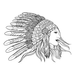 young pretty girl in indian chief headdress vector image