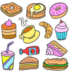 collection stock of food cake drink doodles vector image vector image