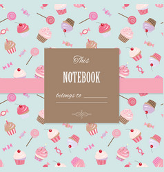 Cute template for scrapbook girly design vector image