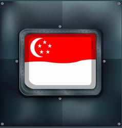 flag of singapore on metalic background vector image
