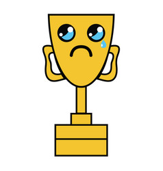 Kawaii cute crying prize cup vector