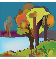 Autumn lake background with trees vector image