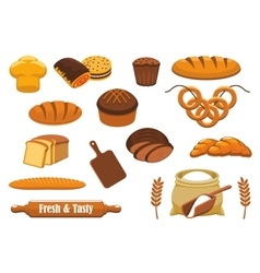Bread and bun icon set for bakery food design vector image