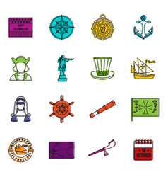 Columbus day icons doodle set vector