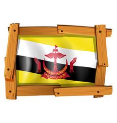 flag of brunei in wooden frame vector image vector image