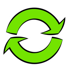 Green circular arrows icon cartoon vector