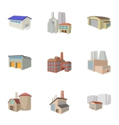 Industrial complex icons set cartoon style vector image