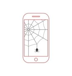 Red smartphone with black cobweb vector