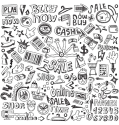 Shopping - doodles set vector image