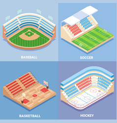 sport stadium flat isometric icon set vector image