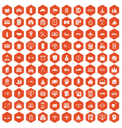 100 private property icons hexagon orange vector