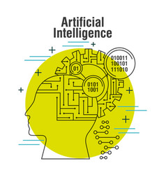 artificial intelligence head profile with gear vector image