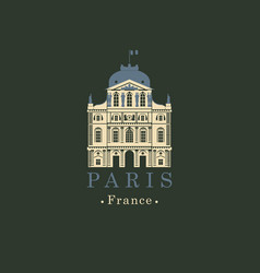 banner with french national museum louvre in paris vector image vector image