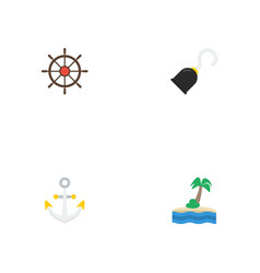 flat icons ship steering wheel armature palm and vector image vector image