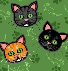 Seamless cartoon cat pattern vector
