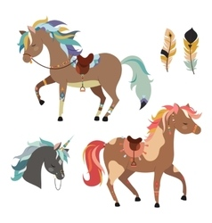 Tribal horses clipart vector image vector image