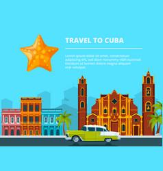 urban landscape of cuba different historical vector image