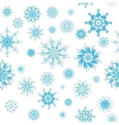 Elegant blue snowflakes of various styles isolated vector image