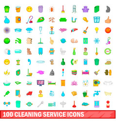 100 cleaning service icons set cartoon style vector