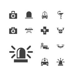 13 ambulance icons vector