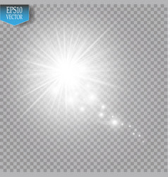 a bright comet with large dust falling star glow vector image