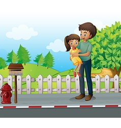 A father and a daugther at the road vector image