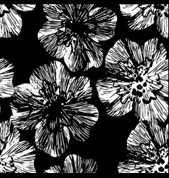 abstract grunge flowers silhouettes background vector image