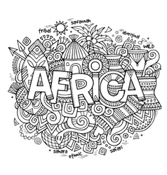 Africa ethnic hand lettering and doodles elements vector