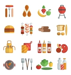 Bbq party flat icons set vector