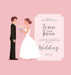 beautiful bride with bouquet and groom wedding vector image