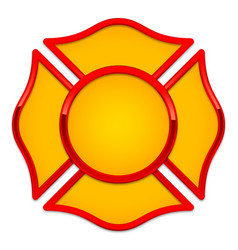 blank fire rescue logo base yellow with red trim vector image