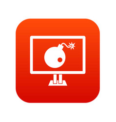 bomb on computer monitor icon digital red vector image