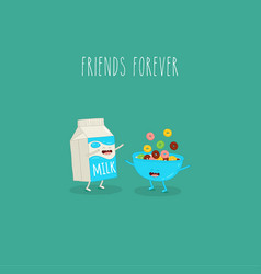 Bowl cereal carton milk friends forever vector