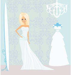 Bride at the salon in wedding dress vector