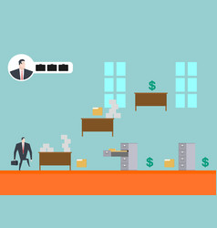 Business game play businessman in office card vector