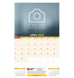 Calendar planner template for 2018 year april vector