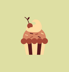 Cherry cupcake icon vector
