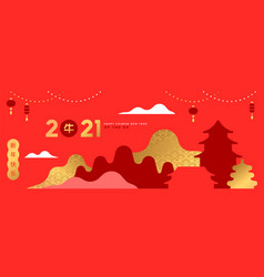 chinese new year ox 2021 minimalist city banner vector image